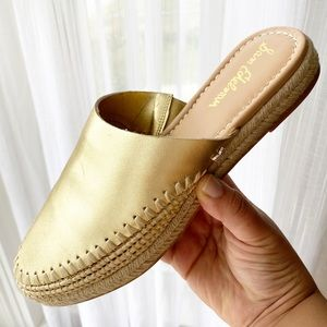 Sam Edelman Gold Espadrille Mules Slip On sz 9
